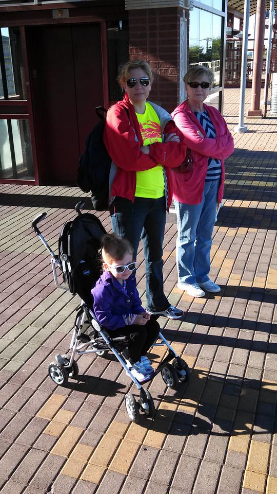 Nana, Deena, and Laney waiting for the DART train.