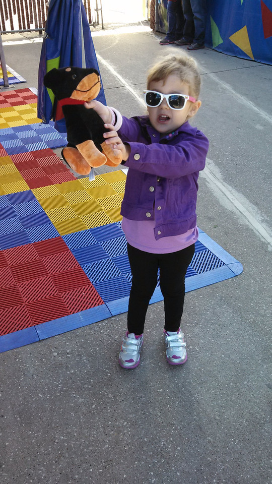 Laney shows off her first midway prize!