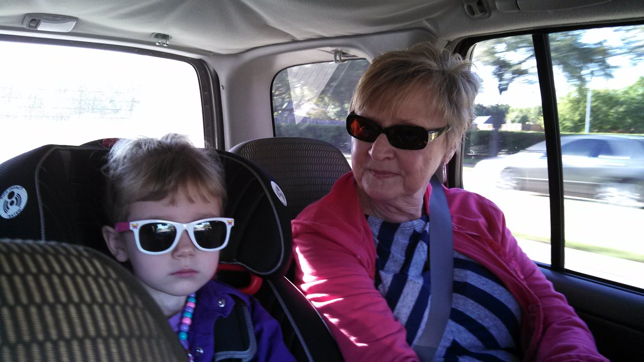 Nana and Laney looking cool in the back seat.