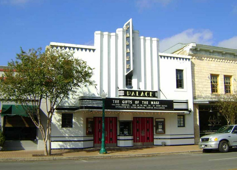 THE PALACE THEATER<br /> Georgetown, Texas<br /> <br /> This beautiful little Art Deco theater opened in 1926, and was remodeled in 1936. It closed due to multiplex competition in 1989, and was rescued by the townsfolk shortly thereafter. It's currently the home of the local theater guild.