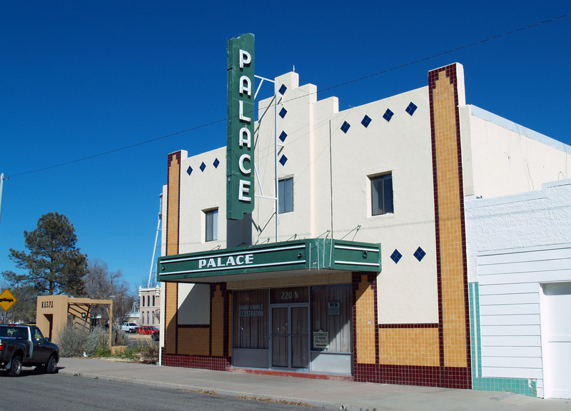 THE PALACE THEATER Marfa, Texas  This Art Deco theater was the Marfa Opera House before it was converted into a movie theater. In 1955, while Warner Bros was filming <i>Giant</i> outside of town, the Palace showed nightly screenings of Elizabeth Taylor and James Dean movies. The Palace closed its doors in the 1970s, and the building is now the residence and studio of a local illustrator.
