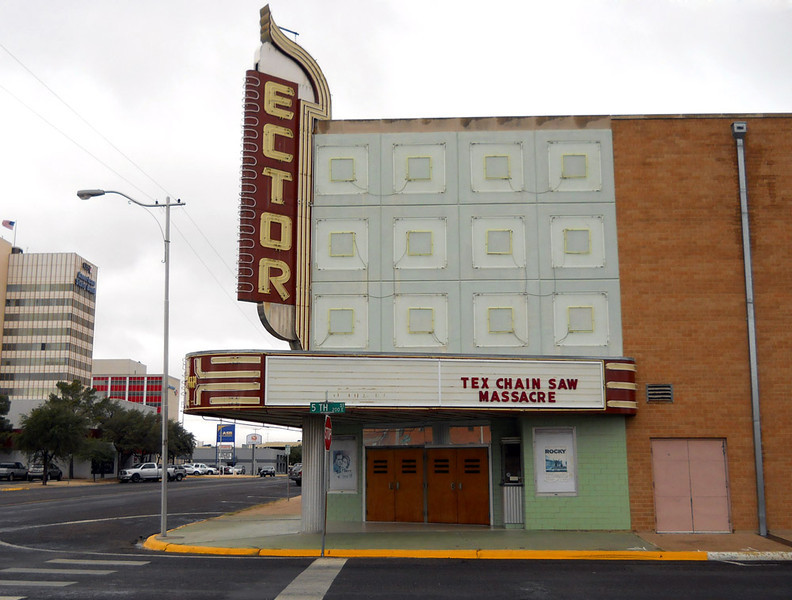 ECTOR THEATER<br /> Odessa, Texas<br /> <br /> It might not look like much here, but at night all those square neon lights light up. I'll have to work on that.