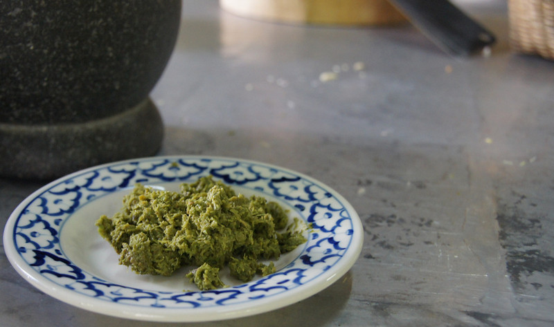 Our finished product - Thai green curry paste.  Thai cooking course.