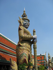 Stone guardian at Wat Phra Kaew temple in Bangkok