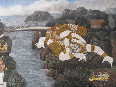 Hanuman extends his tail as a bridge for the army