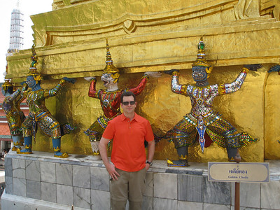 Golden Chedi with giant demon guardians