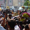 The crowd in front of the chariot and bulls (see the BIG hump in the middle of the picture).  There was a lot of incense burning everywhere!