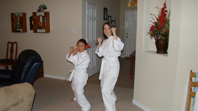 Abby and mommy before Karate(we just started and are Good!)