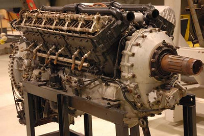 Stock image of  a Rolls Royce Merlin engine used in a P-51 Mustang airplane during World War II.  Displayed in The Aviation Museum of Kentucky at the Blue Grass Airport in Lexington Kentucky USA