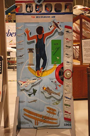 Stock image of  an aviation theme decorated door display at The Aviation Museum of Kentucky at the Blue Grass Airport in Lexington Kentucky USA