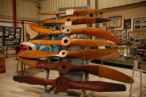 Stock image of a wooden airplane propellers that are displayed at The Aviation Museum of Kentucky at the Blue Grass Airport in Lexington Kentucky USA