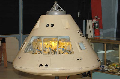 Stock image of  a model of the Apollo space capsule displayed in The Aviation Museum of Kentucky at the Blue Grass Airport in Lexington Kentucky USA