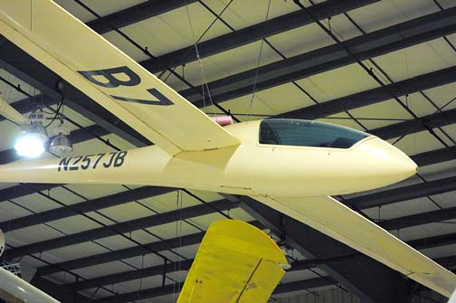 Stock image of a Nimbus II sailplane displayed in The Aviation Museum of Kentucky at the Blue Grass Airport in Lexington Kentucky USA