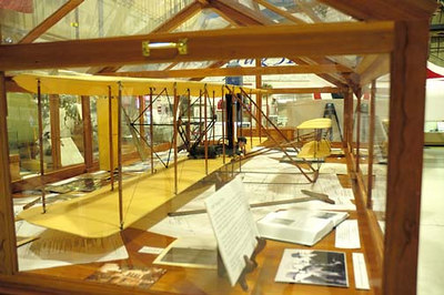 Stock image of  a model of the 1903 Wright Flyer airplane.  Displayed in The Aviation Museum of Kentucky at the Blue Grass Airport in Lexington Kentucky USA