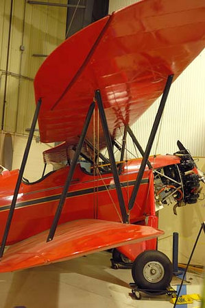 Stock image of a 1931 Waco RNF biplane displayed in The Aviation Museum of Kentucky at the Blue Grass Airport in Lexington Kentucky USA