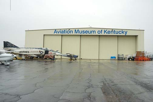 Stock image of the back of The Aviation Museum of Kentucky at the Blue Grass Airport in Lexington Kentucky USA