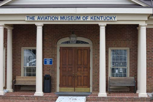 Stock image of the front of The Aviation Museum of Kentucky at the Blue Grass Airport in Lexington Kentucky USA