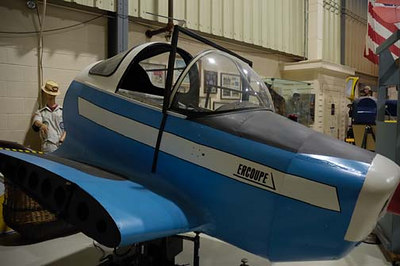 Stock image of  Ercoupe aircraft simulator displayed in The Aviation Museum of Kentucky at the Blue Grass Airport in Lexington Kentucky USA