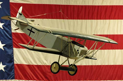 Stock image of small radio-controlled model of a Fokker D. VII, generally regarded as one of the best fighter planes of WWI. Displayed in The Aviation Museum of Kentucky at the Blue Grass Airport in Lexington Kentucky USA