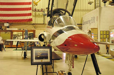 Stock image of the AT-38B Talon painted by Aviation Museum of Kentucky volunteers to resemble the aircraft flown by the USAF's Thunderbirds.  Displayed in museum at the Blue Grass Airport in Lexington Kentucky.