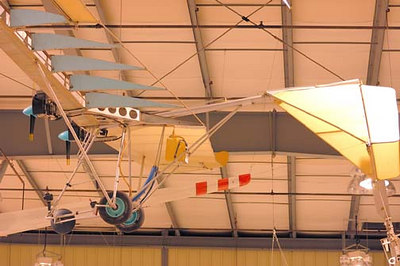 Stock image of a twin-engine Ultralight displayed in The Aviation Museum of Kentucky at the Blue Grass Airport in Lexington Kentucky USA