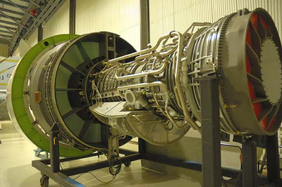 Stock image of  the huge General Electric CF-6-80 turbofan engine used on the Boeing 747 airliner.  Displayed in The Aviation Museum of Kentucky at the Blue Grass Airport in Lexington Kentucky USA