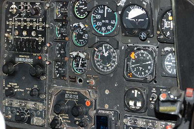 Stock image of  the instrument panel from a Bell OH-58 Kiowa army helicopter displayed in The Aviation Museum of Kentucky at the Blue Grass Airport in Lexington Kentucky USA