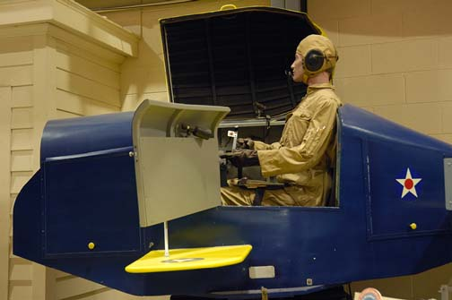 Stock image of  a Link Trainer, an  instrument-training device used from the 1930s through the 1960s to train student pilots.  Displayed in The Aviation Museum of Kentucky at the Blue Grass Airport in Lexington Kentucky USA