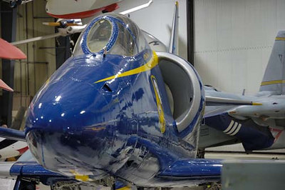 Stock image of a USAA-4L Skyhawk, which was modified and painted by the Blue Angels paint team to resemble an A-4F as flown by the Blue Angels, the US Navy Flight Demonstration Squadron.  Displayed in The Aviation Museum of Kentucky at the Blue Grass Airport in Lexington Kentucky.