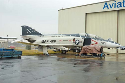 Stock image of  F-4S Phantom II jet airplane displayed at The Aviation Museum of Kentucky at the Blue Grass Airport in Lexington Kentucky USA