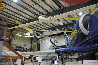 Stock image of  multiple types of  aircraft displayed in The Aviation Museum of Kentucky at the Blue Grass Airport in Lexington Kentucky USA