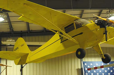 Stock image of  an Aeronca Model K airplane displayed in The Aviation Museum of Kentucky at the Blue Grass Airport in Lexington Kentucky USA