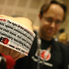 """The EFF booth offered a host of interesting """"donation thank you gifts"""" including a wallet-sized copy of the bill of rights printed on an aluminum card, and this Fourth Amendment Shipping Tape."""