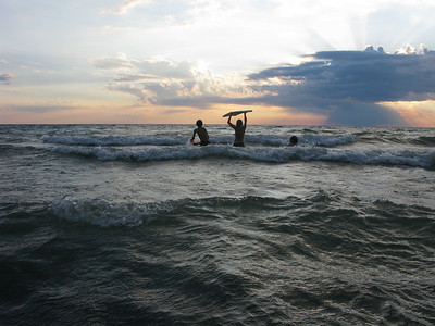 Summer Sunset and Boggie Board Surfing Lake Michigan 2009. Colton, Maddie and Dexter.