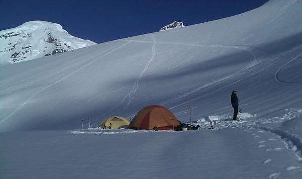 Our base camp for our successful bid to summit Mt Baker. (backround 10,720ft.) May 2010.