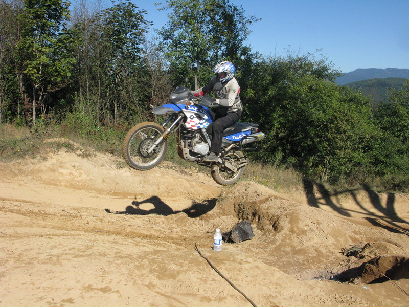 Jumping My BMW Dakar 650 in Rural Western Washington. 2009.
