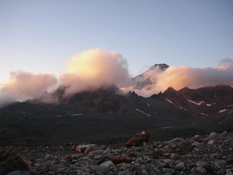 Base camp for Glacier Peak ascent. Sunset.