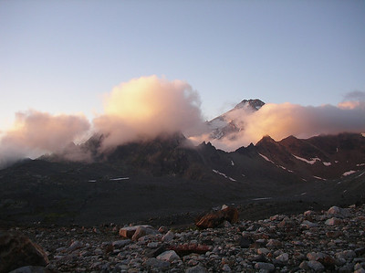 Base camp for Glacier Peak ascent. Sunset.