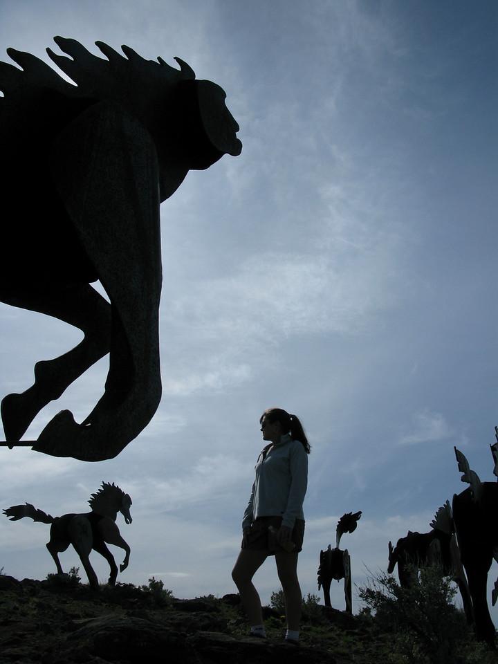 Outdoor schulpture of metal horses. Vantage Wa.