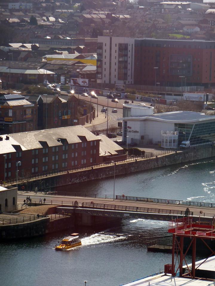 Whacker Quacker emerging from bridge leading to Albert dock-Big Wheel