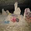 Some of the stalagmites with graffiti on them.