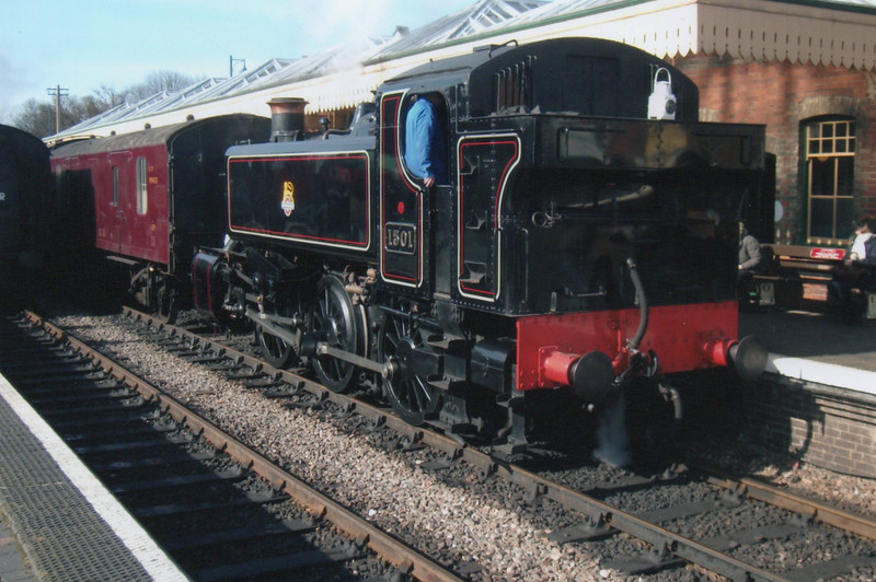 Visitor from the SVR at NNR's Spring 2015 Spring Gala was GWR 1501 seen here at Sheringham having arrived with the 12 20 ex Holt on 06/03/15
