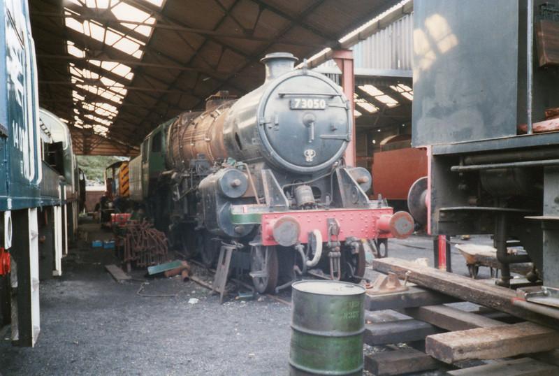 Standard 5MT 73050 under repair at Wansford in Sep 89.