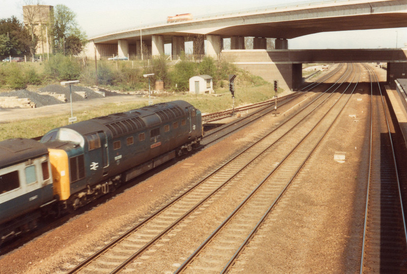 55008 at Huntingdon on 14/04/81 with the 12 05 Kings Cross to Hull - a service going HST two months later.