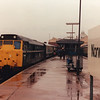A very wet Norwich on 25/04/83 sees 31416 coupled up to work the 11 33 to Birmingham New Street via March, peterborough, Leicester and Nuneaton.
