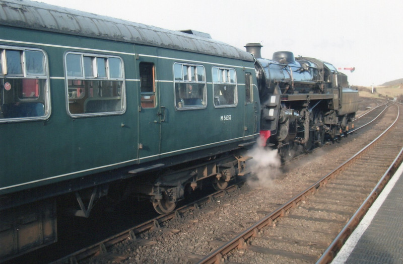 "A ""dead' DMU forms with 15 11 ex Holt seen here at Weybourne with BR 2-6-0 76084 on 06/03/15"