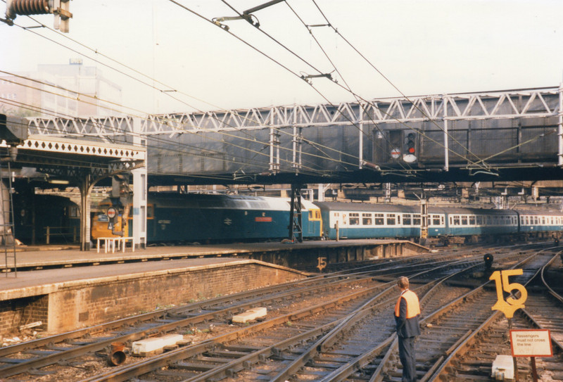 "47582 arriving into Liverpool Street on 01/10/84 with the 07 42 ""Fenman"" ex Kings Lynn."