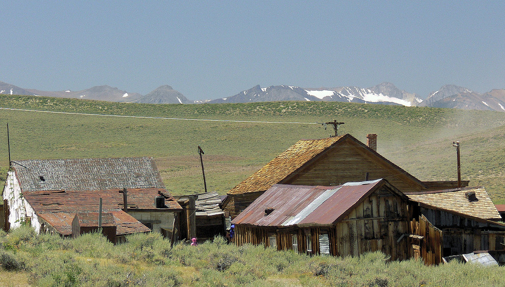 Here's a view of some Bodie rooftops with the Sierra Nevada range peeking over the ridge.