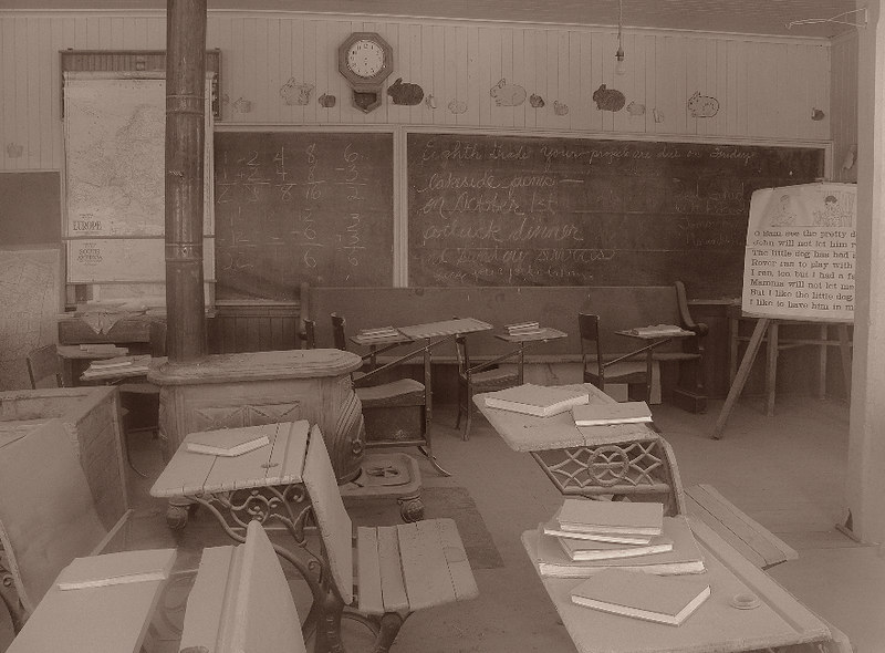 the schoolroom, looking for all the world as if the kids are about to return at any minute from recess. I used the Sepia color setting on the FZ30 once again but desaturated it a bit in my picture program, Paint Shop Pro X. Another poignant glimpse into the past...