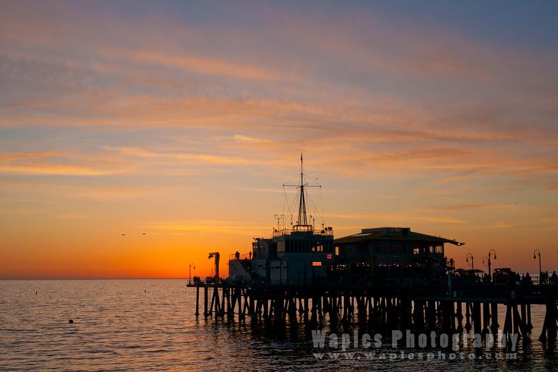 The Santa Monica Pier at Sunset